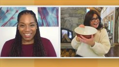 split screen of Rachael Ray holding garbage bowl next to viewer Goldie