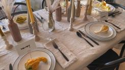 Thanksgiving table set by Bobby Berk