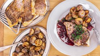 Fish With Red Wine Sauce And Rosemary Potatoes