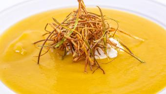 Pumpkin Soup With Allspice Whipped Cream & Fried Leeks