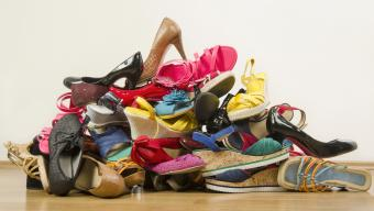 big pile of women's shoes
