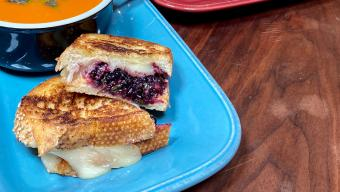 Grilled Cheese with Blackberry, Balsamic and Basil