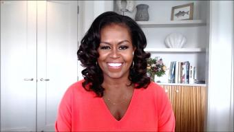 Former First Lady Michelle Obama chats with Rachael Ray