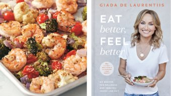 Sheet Pan Parmesan Shrimp & Veggies/Eat Better, Feel Better by Giada De Laurentiis book cover