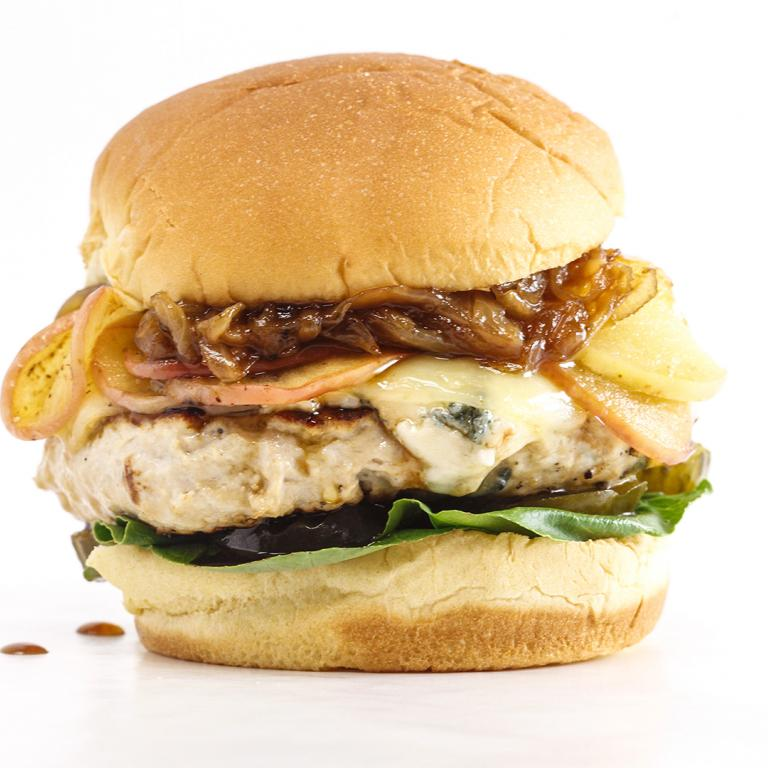 Rachael's Apple-Dijon Turkey Cheeseburgers with Caramelized Onions