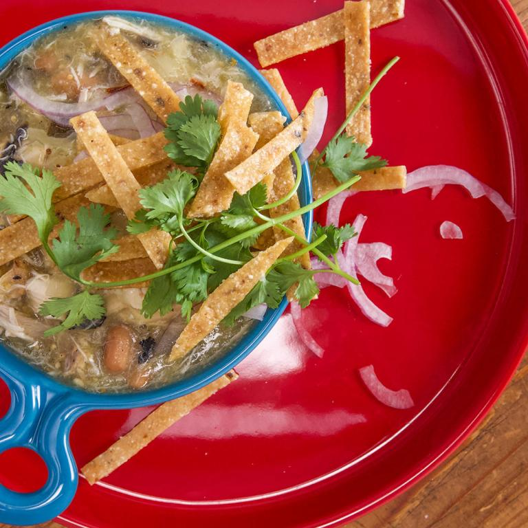 Rachael's Mean Green Pulled Chicken Chili