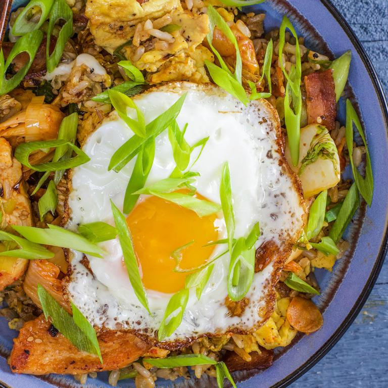 chicken and kimchi stir fry with bacon and egg fried rice