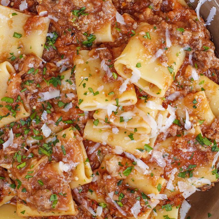 Rachael's Charred Eggplant and Meat Sauce with Paccheri