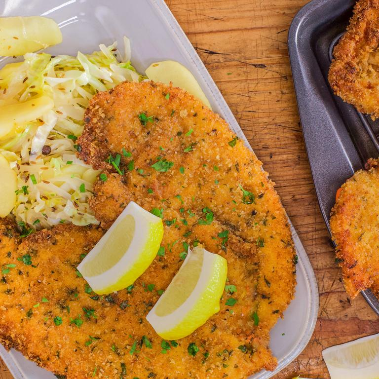 Chicken Schnitzel and Cabbage