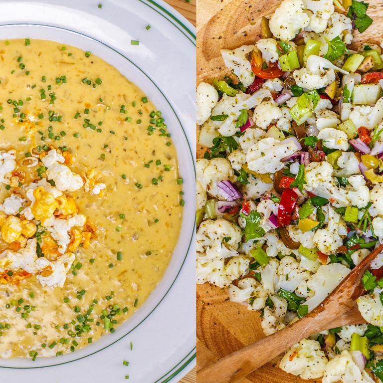 Beer Cheese Soup + Cauliflower Salad
