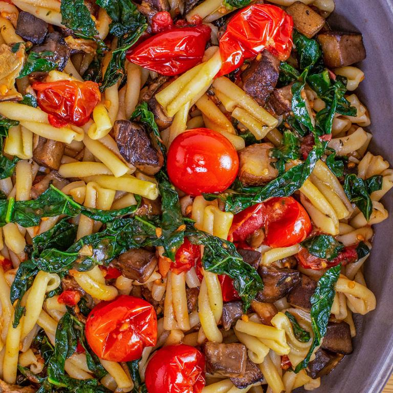 Pasta with Portobellos, Cherry Tomatoes and Dark Greens
