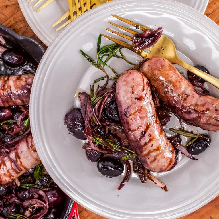 Roasted Sausages with Grapes
