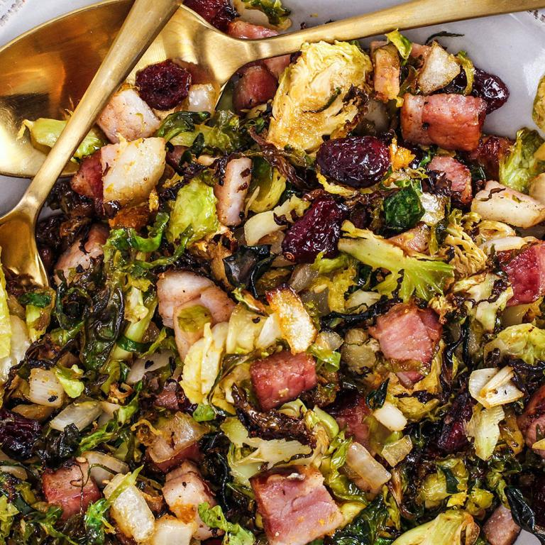Bacon & Onion Shaved Brussels Sprouts