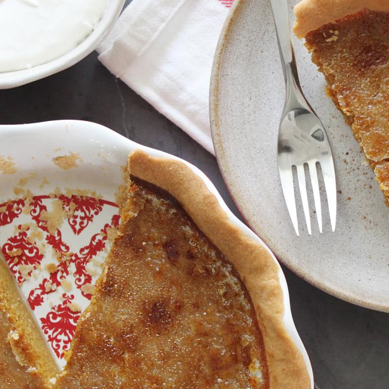 Bruleed Pumpkin Pie With Shortbread Crust