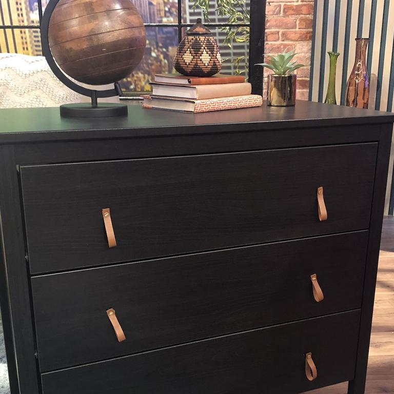 Dresser with leather accents