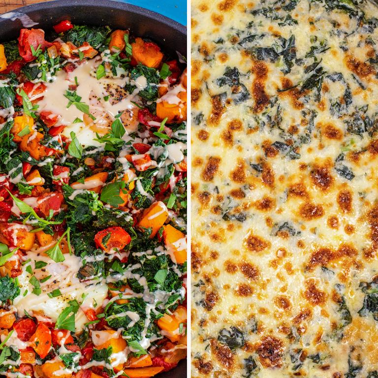 sweet potato hash and kale artichoke dip