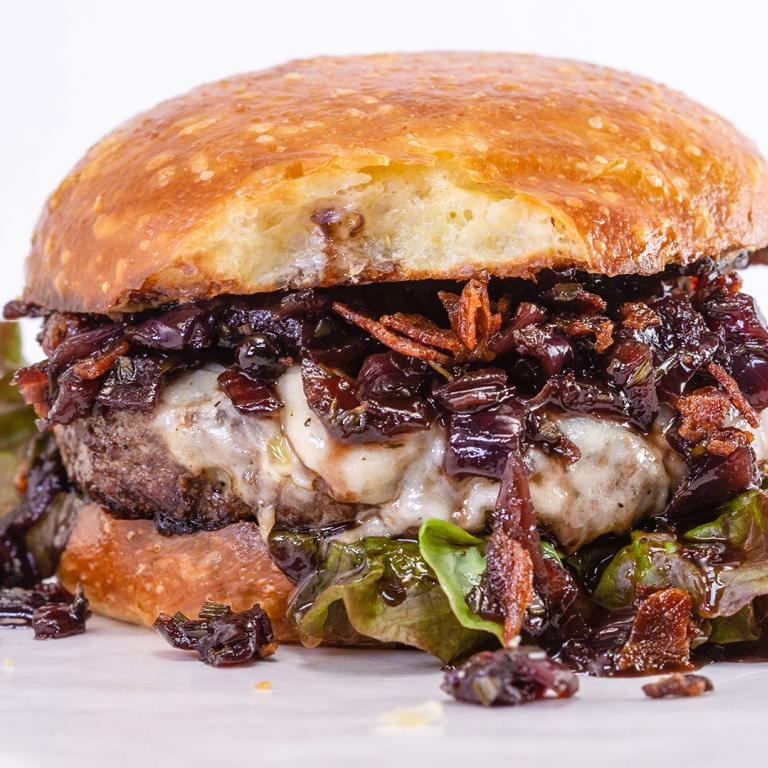 Half-Pound Beef Burgers with Drunken Red Onion Jam