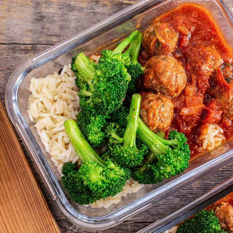 meal-prepped meatballs, broccoli and rice