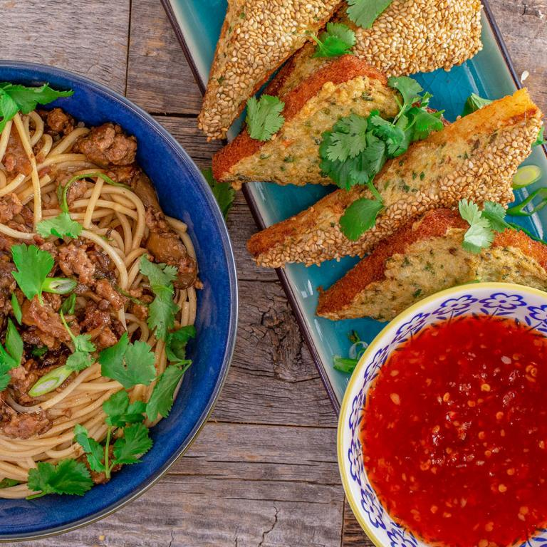 Taiwanese Make-Your-Own Take-Out: Rachael's Shrimp Toast and Taiwanese Meat Sauce with Egg Noodles or Rice