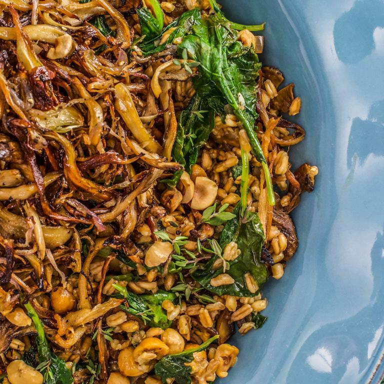Farro with Mushrooms and Hazelnuts
