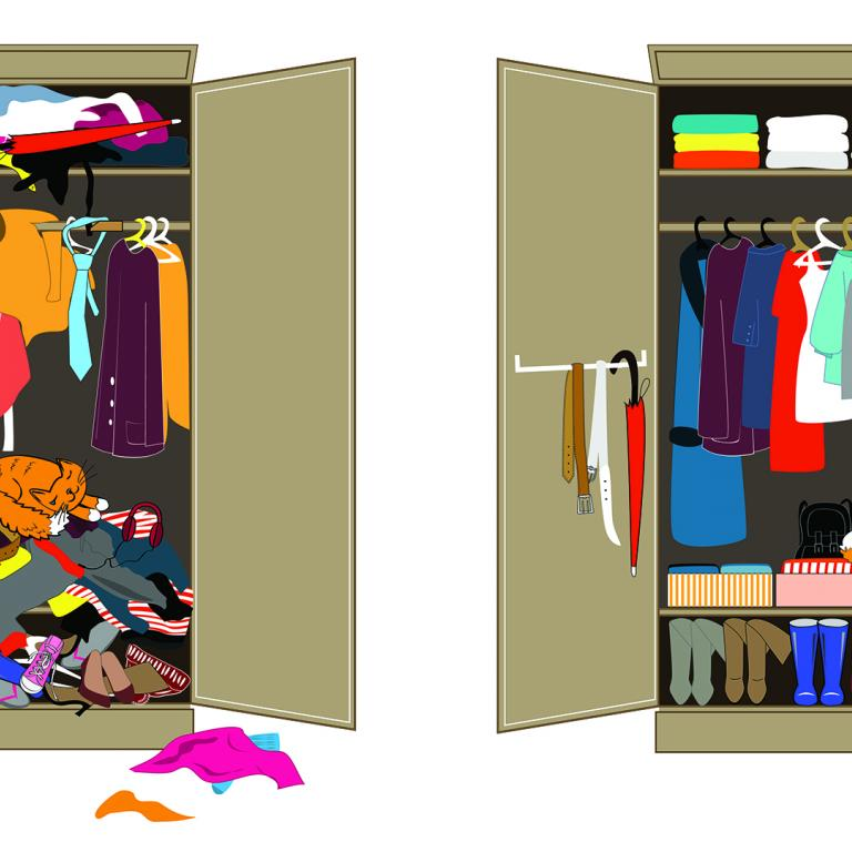 before and after messy to clean closet