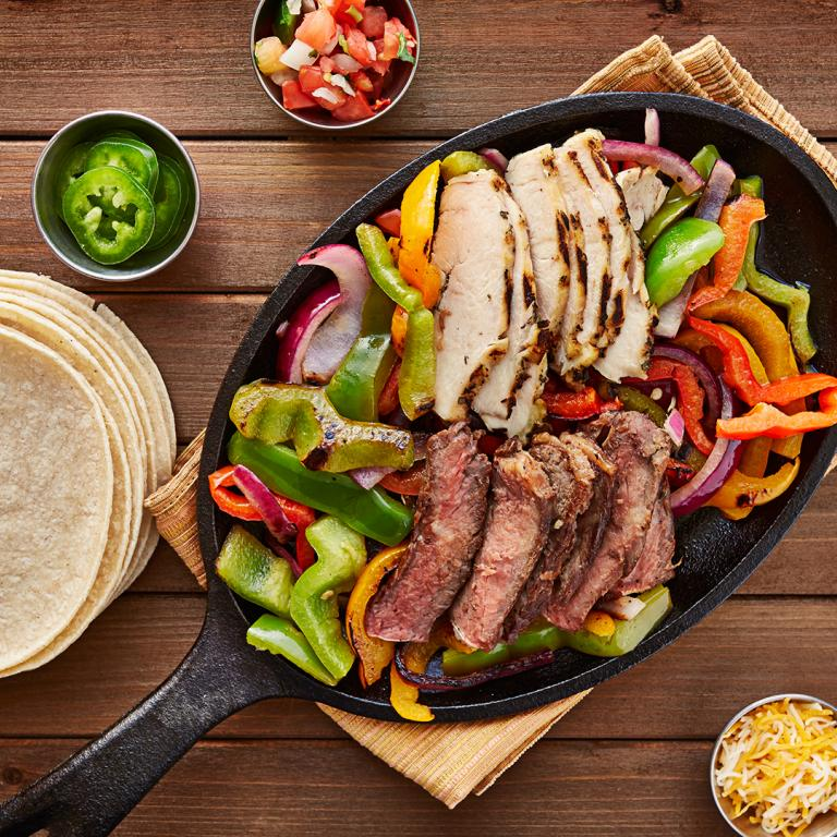 fajita grilled veggies and meat