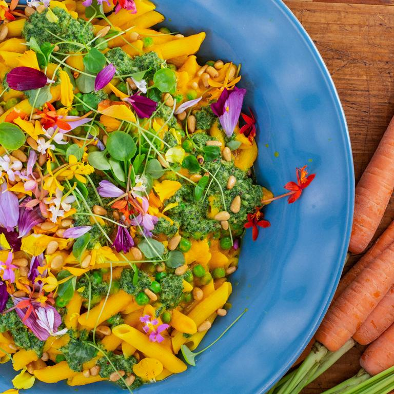 Rachael's Pasta with Creamy Carrot Sauce and Peas