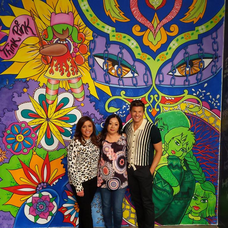 Rachael Ray, Lady Pink, and David Burtka In Front Of Mural