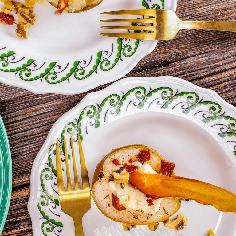 Rachael's Baked Pears with Gorgonzola and Crispy Prosciutto