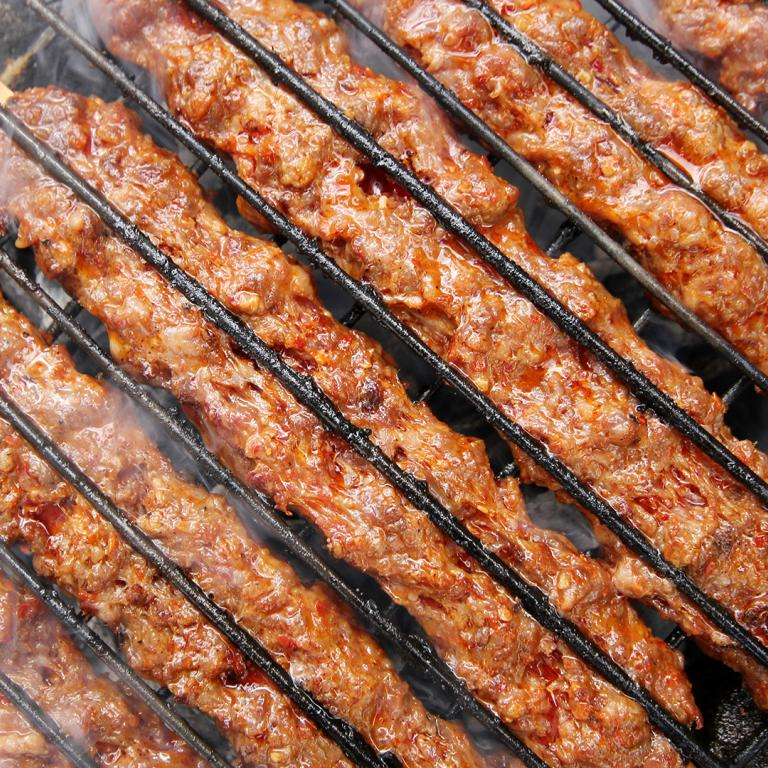 Ground Beef Kebabs on Grill
