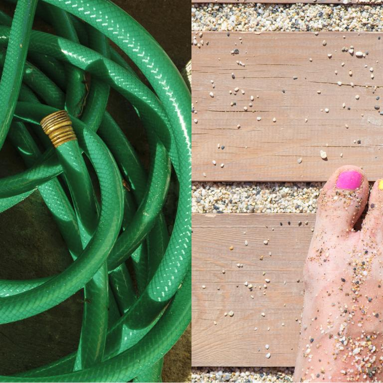 side-by-side of tangled hose and sandy feet
