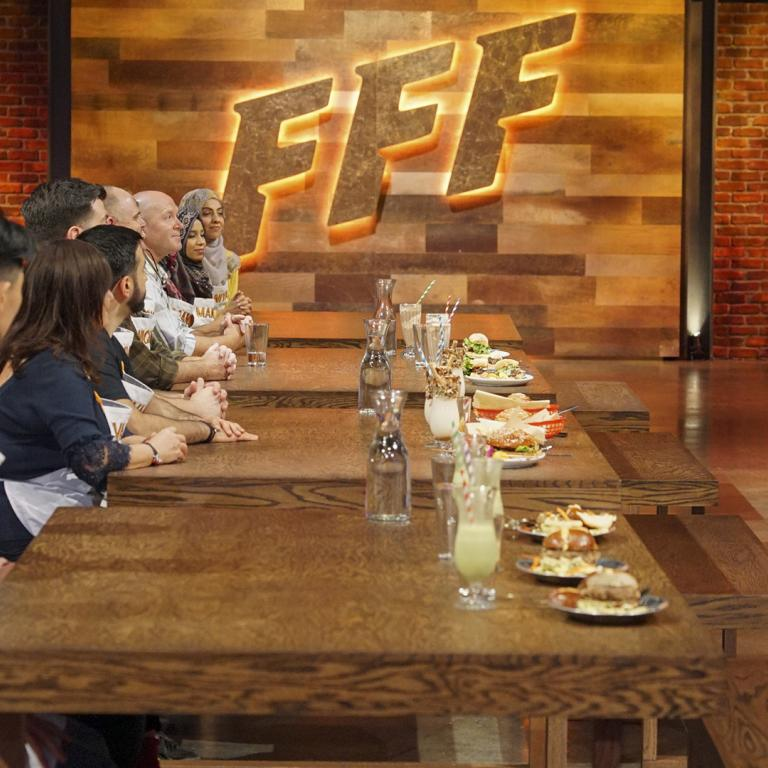 Family Food Fight judges and contestants