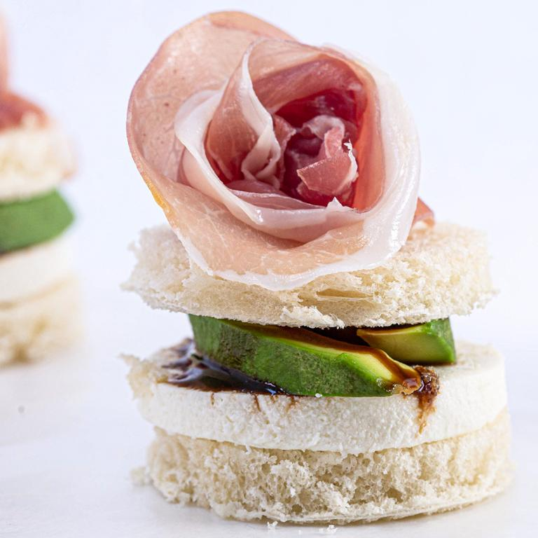Avocado & Mozzarella Tea Sandwiches With Prosciutto Flowers