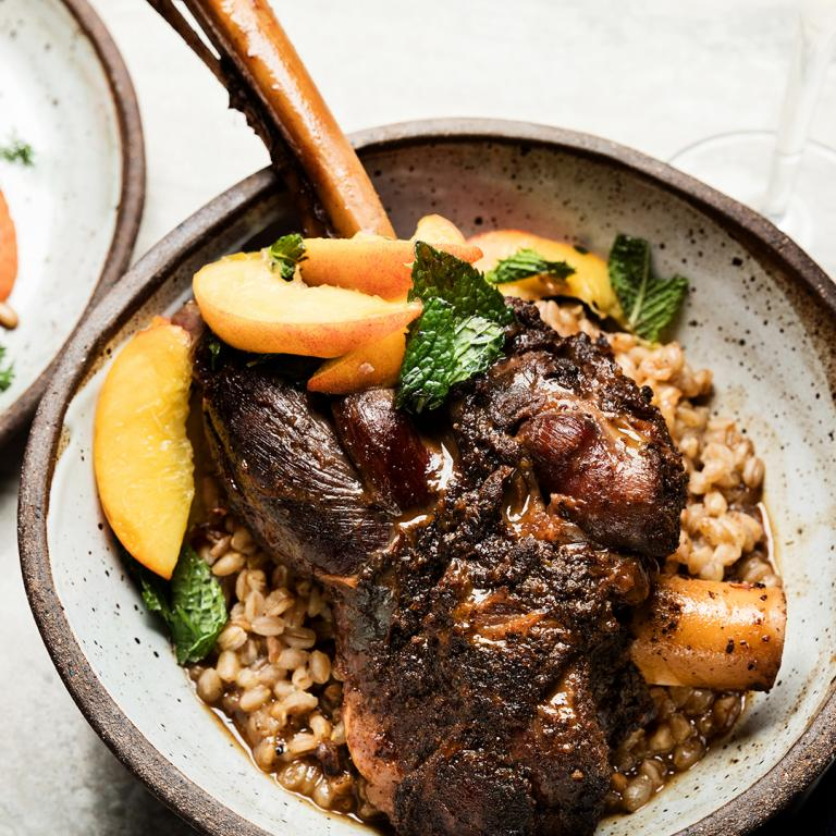 Wine-Braised Lamb Shanks with Farro