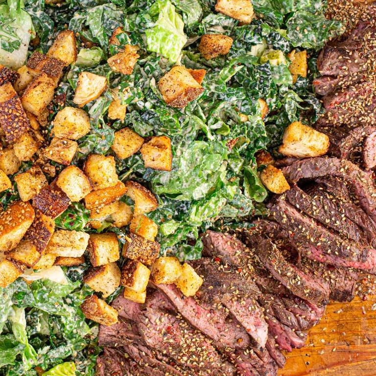 steaks with zaatar and tahini caesar salad
