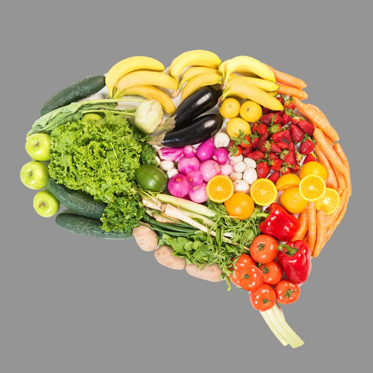 brain shape made up of different food