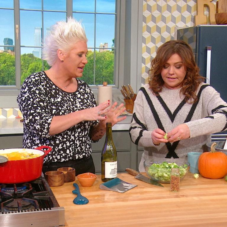 Anne Burrell and Rachael Ray making Brussels sprouts