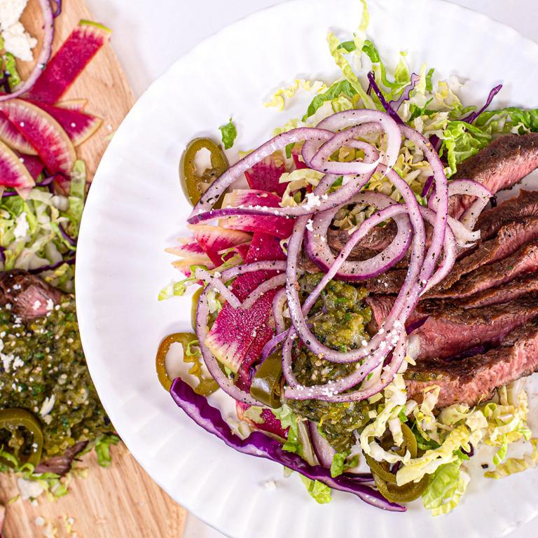 Sliced Steak Salad with Poblano Salsa