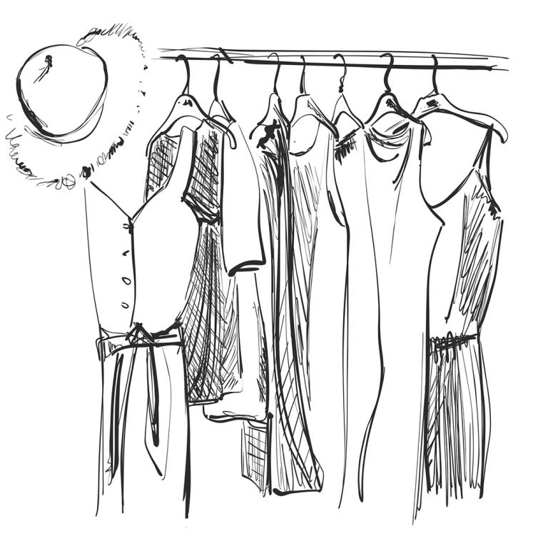 drawing of items of women's clothing on a rack