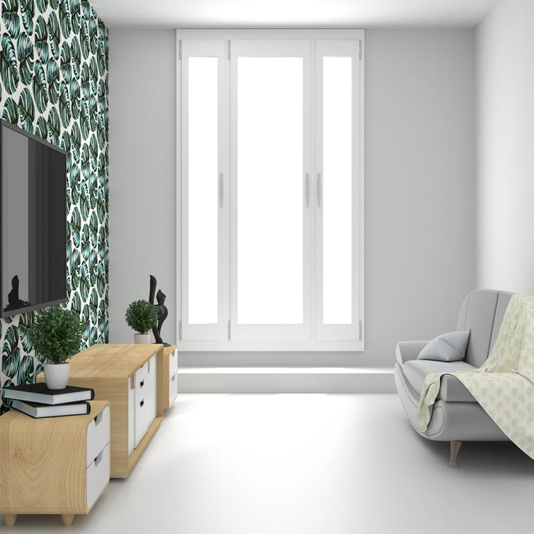 room with tropical leaf wallpaper