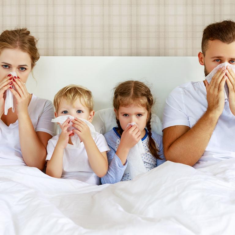 family sick in bed