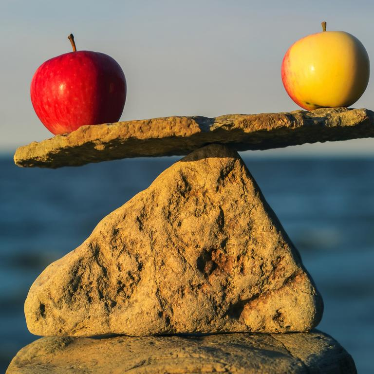 balancing rocks and apples on the beach