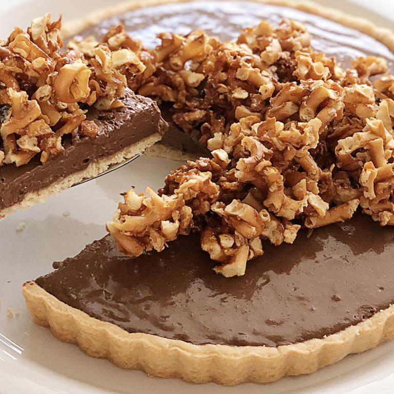 Malted Chocolate Pot De Crème Tart with Salty Sweet Pretzel Topping