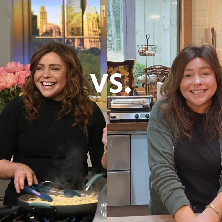 Rachael Ray cooking in the studio and at home