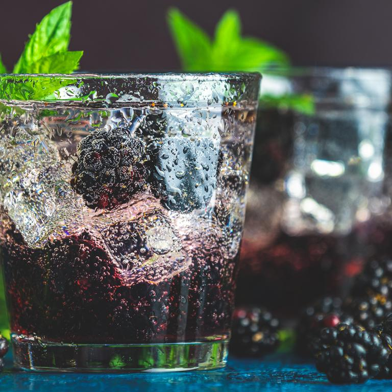 Gin Berry Smash Cocktail With Fresh Mint