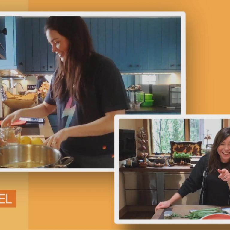 Katie Lee cooks lemon butter pasta on RACHAEL RAY