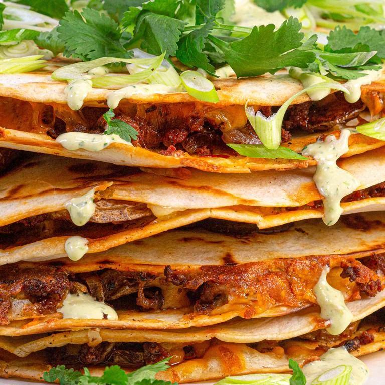 Chorizo Quesadillas With Spicy Ranchero Sauce
