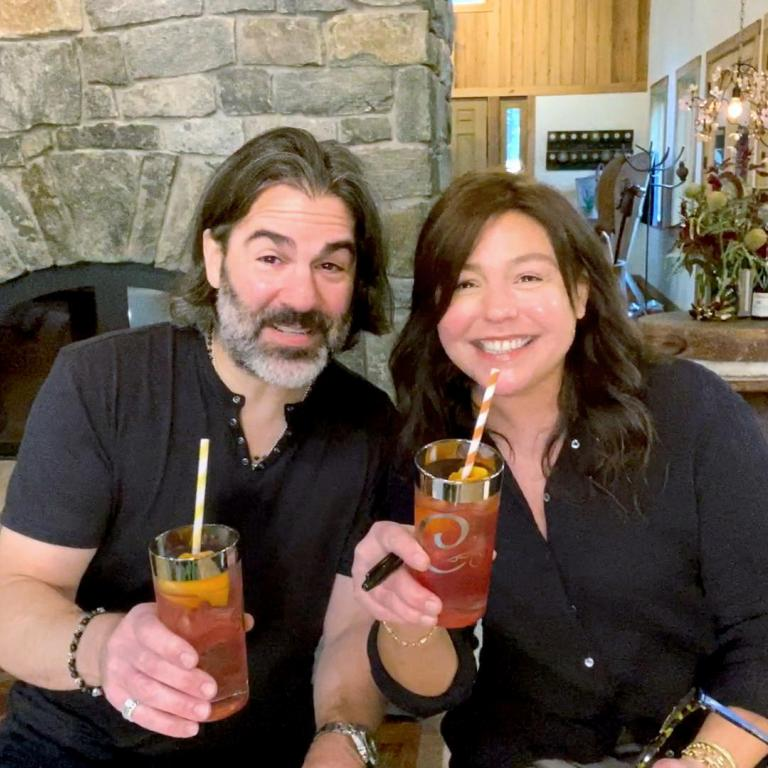 Rachael and John with cocktail