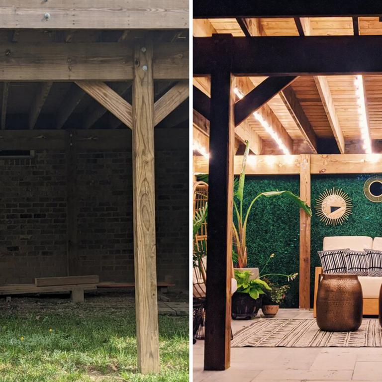 before and after back porch makeover split