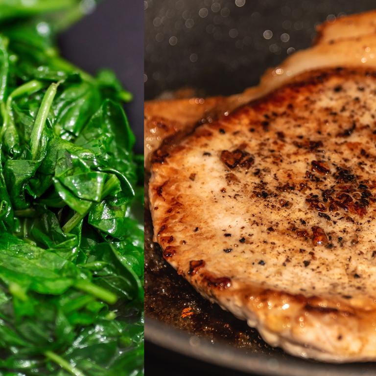 Wilted Spinach and Pork Chop Side by Side